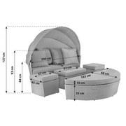 Gartenmuschel Aruba Aus Polyrattan mit Dach und Kissen - Beige/Hellgrau, MODERN, Glas/Kunststoff (200/92cm) - Luca Bessoni