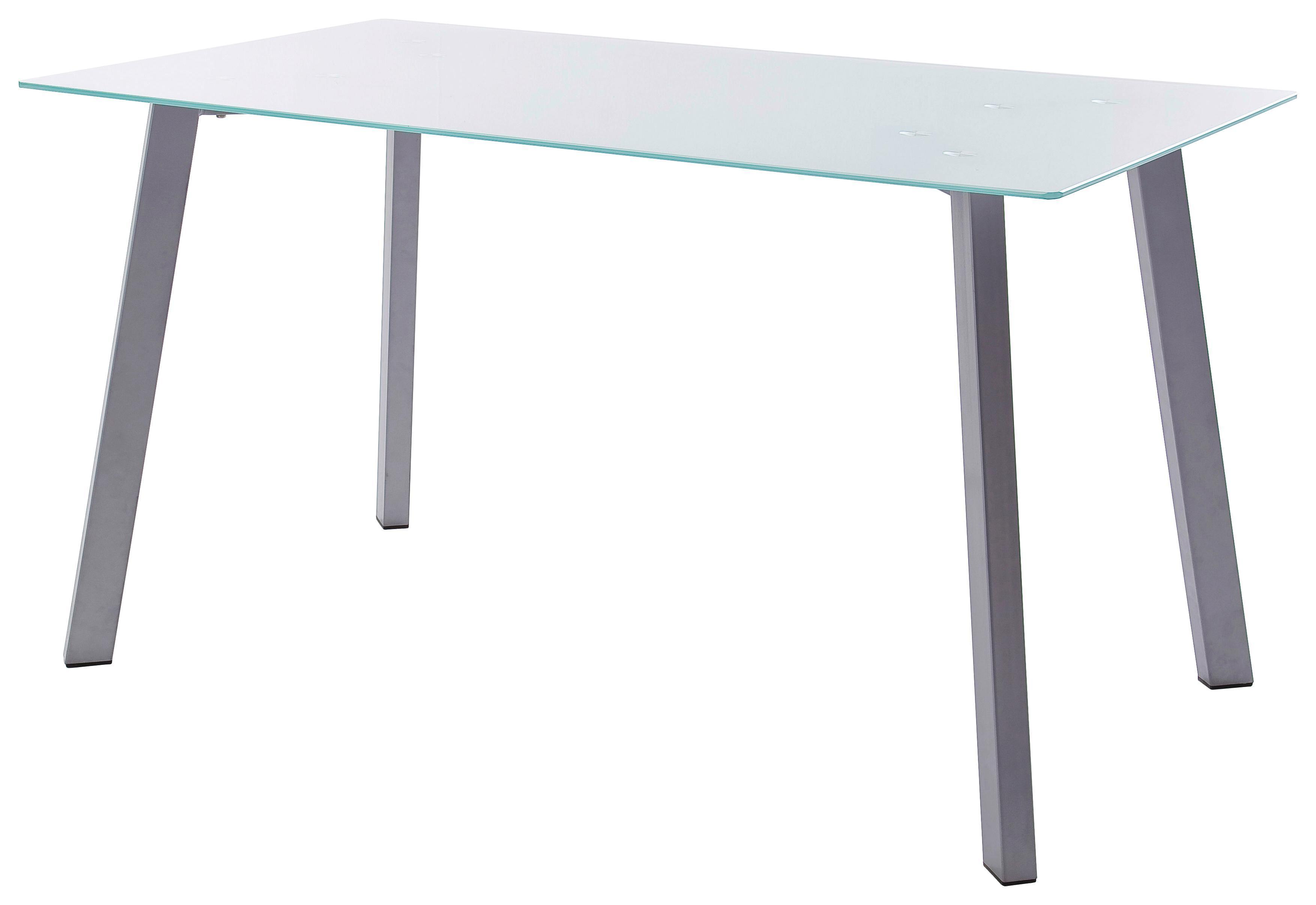 Hochwertig Esstisch Zuri 140cm Mit Tischplatte Aus Milchglas   Silberfarben/Alufarben,  MODERN, Glas/