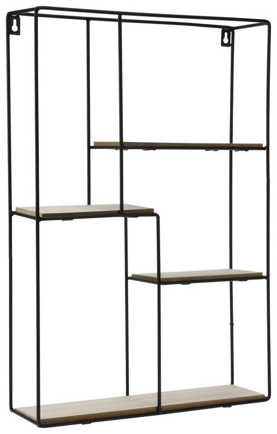 Dekowandregal H: 55 cm - Schwarz/Braun, Holz/Metall (37/55cm)