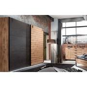 Schwebetürenschrank Detroit B: 250 cm Eichefarben - Eichefarben/Graphitfarben, Basics, Holzwerkstoff (250/218/65cm)