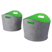 Kaminkorbset aus Filz, Oval, 2-Teilig - Grau/Grün, MODERN, Textil