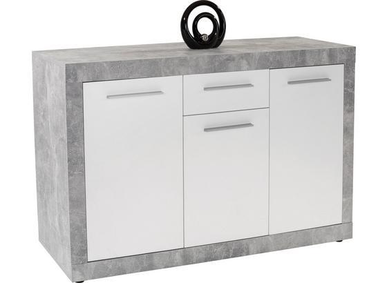 Sideboard B 149cm Strada, Weiß/Betonoptik - Weiß, KONVENTIONELL, Holzwerkstoff (149/86/41cm)