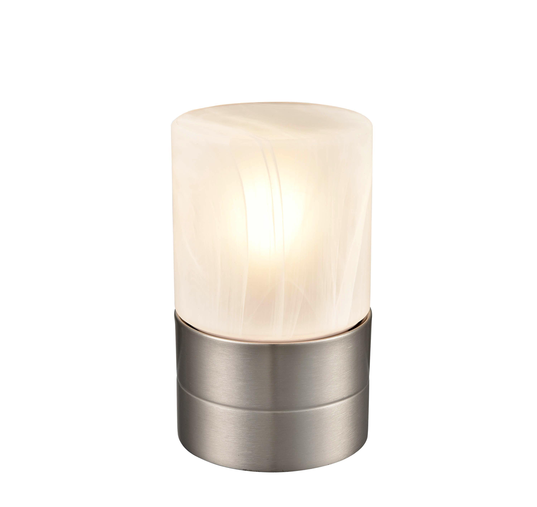 Tischlampe Eva Nickelfarben/ Milchglas mit Touch-Funktion - Weiß/Nickelfarben, ROMANTIK / LANDHAUS, Glas/Metall (9/15cm) - James Wood