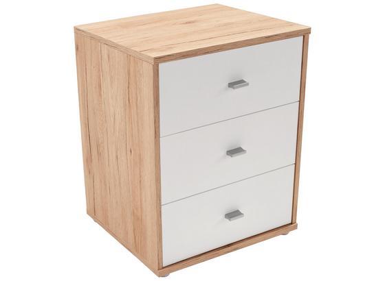 Noční Stolek 4-you New - bílá/barvy dubu, Konvenční, kompozitní dřevo (50/54,8/34,6cm)
