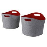 Kaminkorbset aus Filz, Oval, 2-teilig - Rot/Grau, MODERN, Textil