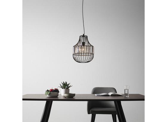 Závesná Lampa Metrix - čierna, Moderný, kov (28/120cm) - Modern Living