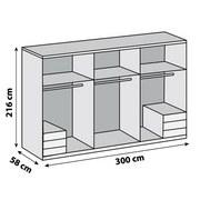 Drehtürenschrank Level 36a B:300cm Weiß Dekor/ Spiegel - Weiß, MODERN, Holzwerkstoff (300/216/58cm)