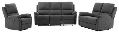 Sitzgarnitur mit Relaxfunktion London Webstoff - Schwarz/Grau, MODERN, Textil/Metall (189/101/90cm)