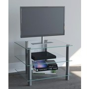 TV-Regal Sindas B: 60 cm Silber, Glas - Klar/Silberfarben, KONVENTIONELL, Glas/Metall (60/45/42cm) - Livetastic