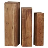 Beistelltisch 3er-Set Säulenform, Akazie Massivholz - Akaziefarben, MODERN, Holz (24,5/85/24,5cm) - Livetastic