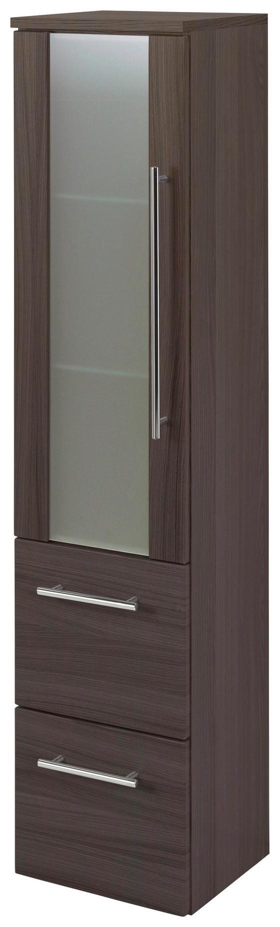 Midischrank Mailand 30 cm Eiche Dekor - Eichefarben, MODERN, Glas/Holzwerkstoff (30/128/27cm)