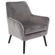 Relaxsessel mit Echtholzbeinen Lounge Samtbezug Grau - Schwarz/Grau, MODERN, Holz/Textil (71/85/71cm) - MID.YOU