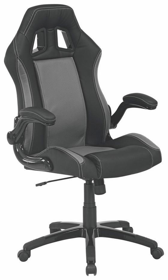 Kancelárske Kreslo Basti - čierna/sivá, Moderný, umelá hmota/kov (68/113-123/70,50cm)