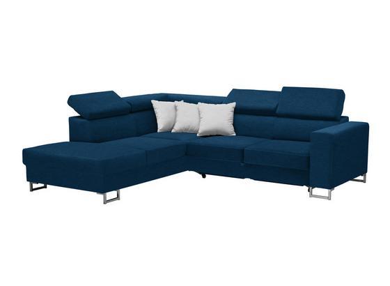Wohnlandschaft In L-Form California 230x250cm - Blau/Edelstahlfarben, MODERN, Textil (230/250cm) - Luca Bessoni