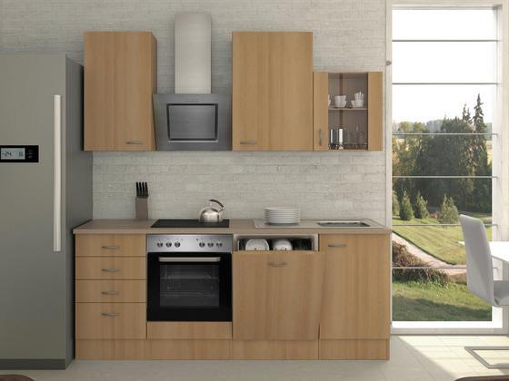 Küchenblock Nano 220 cm Buche - Buchefarben/Creme, MODERN, Holzwerkstoff (220/230/60cm)