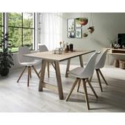 Stuhl-Set Kaja 2-er Set Weiß - Eichefarben/Weiß, Natur, Textil/Metall (48/86/56cm) - MID.YOU