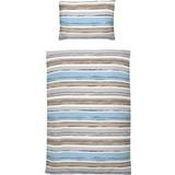 Bettwäsche Lea Streifendessin - Blau/Dunkelgrau, MODERN, Textil (140/200cm)