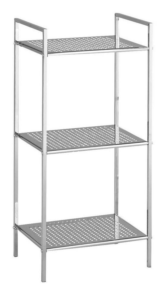 Regál Do Kúpeľne Unicon/c - 3 - chrómová, Moderný, kov (38/84/30cm)
