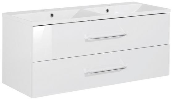 Doppelwaschtischkombi B.clever 120 cm Weiß - Weiß, MODERN, Holzwerkstoff/Kunststoff (120/51/46cm) - Fackelmann