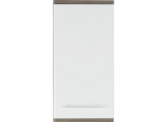 Horná Skrinka Santorin - biela/tmavohnedá, Konvenčný, kompozitné drevo (40/78/22cm)