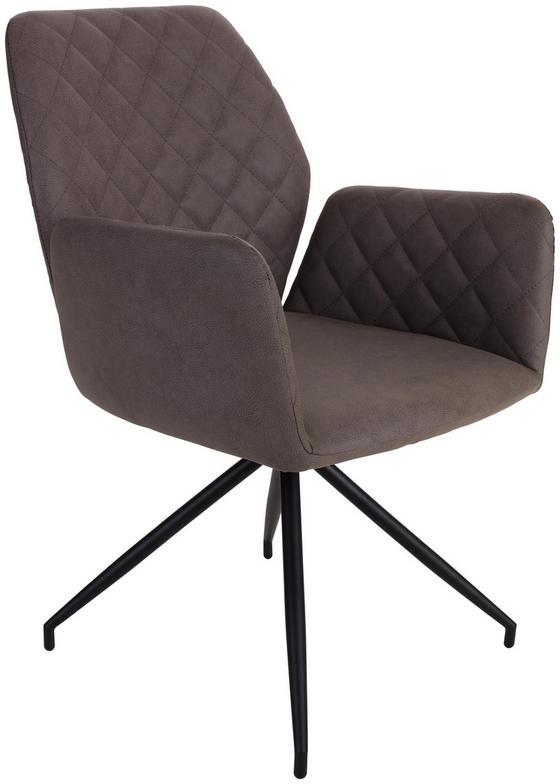 Armlehnstuhl Rita - Hellbraun/Schwarz, MODERN, Textil/Metall (59/86/61cm)