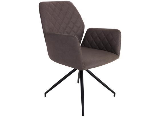 Stolička S Područkami Rita - svetlohnedá/čierna, Moderný, kov/textil (59/86/61cm)