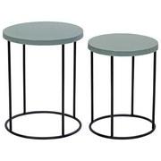 Beistelltischset Round 2er Set - Schwarz/Mintgrün, MODERN, Metall (40/50cm)