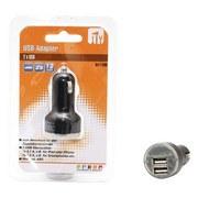 USB-ladeadapter Ø 3,5 cm - Schwarz, Kunststoff (3,5/6,5cm)
