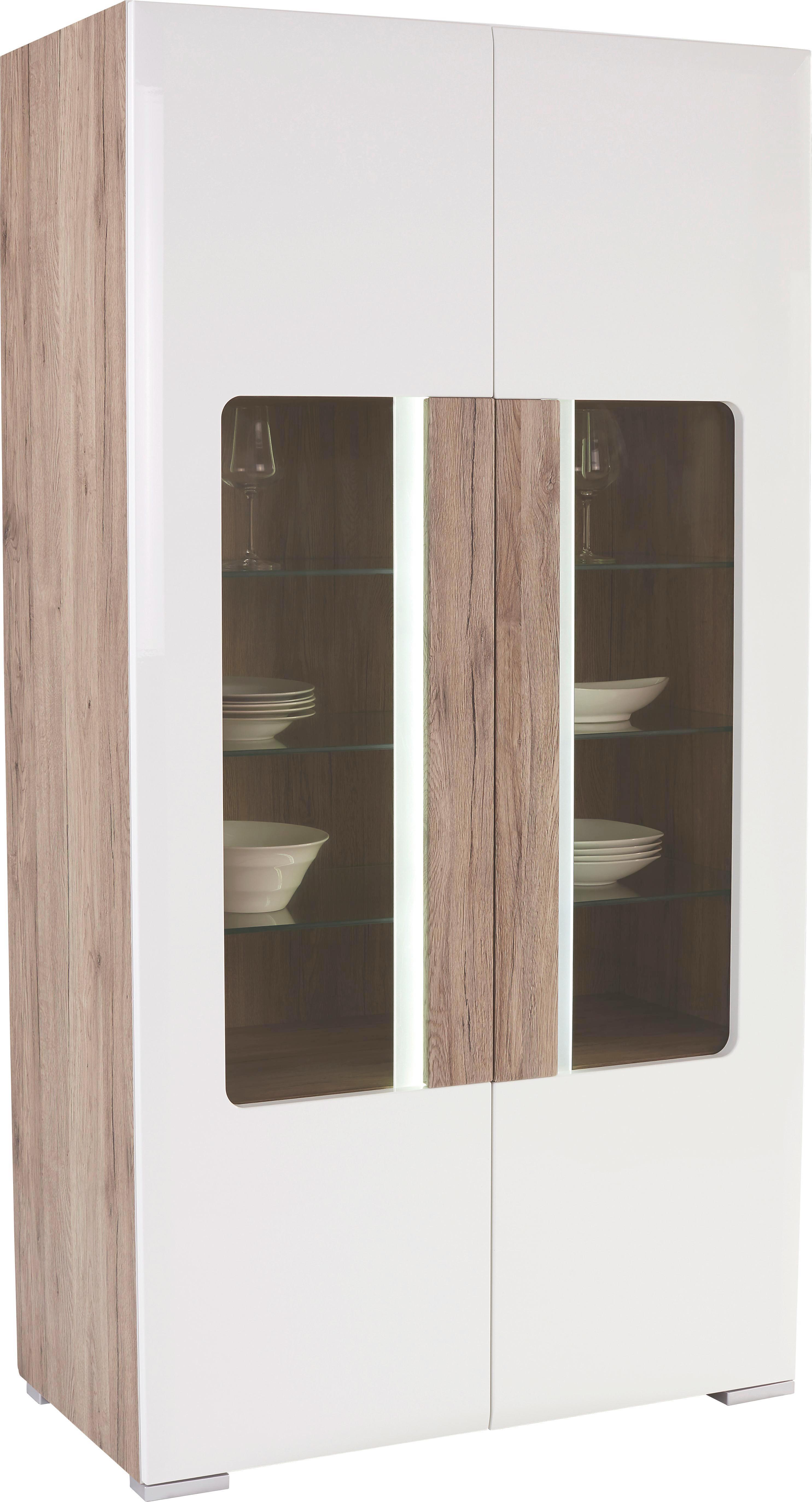 Vitrin Toronto - tölgy színű/fehér, modern, faanyagok (105/196/42cm) - OMBRA