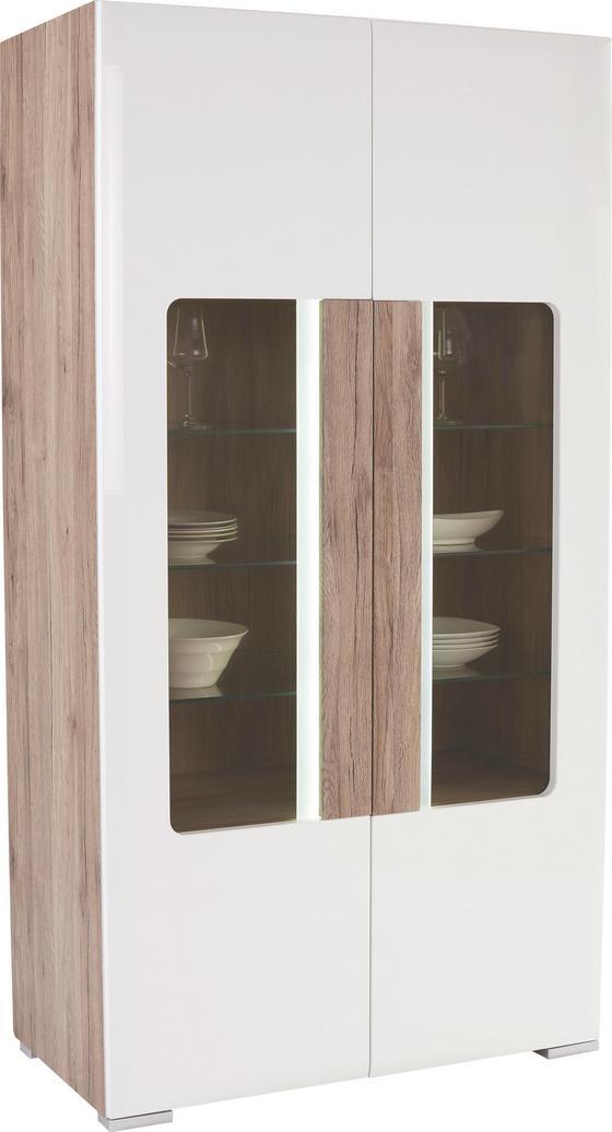 Vitrine Toronto - Eichefarben/Weiß, MODERN, Glas/Holzwerkstoff (105/196/42cm) - Ombra