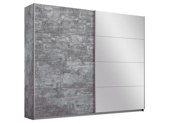 Schwebetürenschrank mit Spiegel 226cm Belluno, Grau Dekor - Grau, MODERN, Holzwerkstoff (226/210/62cm)