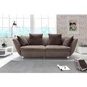 Sofa Modern - Chromfarben/Dunkelbraun, MODERN, Textil (244/85/115cm)