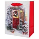 Geschenktasche Christimas Traditions M - Rot/Weiß, Basics, Karton (26/32/12cm)