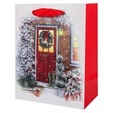Geschenktasche Christmas Traditions - Rot/Hellgelb, Basics, Karton (30/40/12cm)
