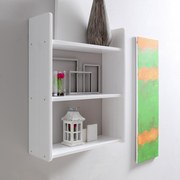 Wandregal Mona B: 60 cm Weiß - Weiß, Basics, Holz (60/74/20cm) - Livetastic