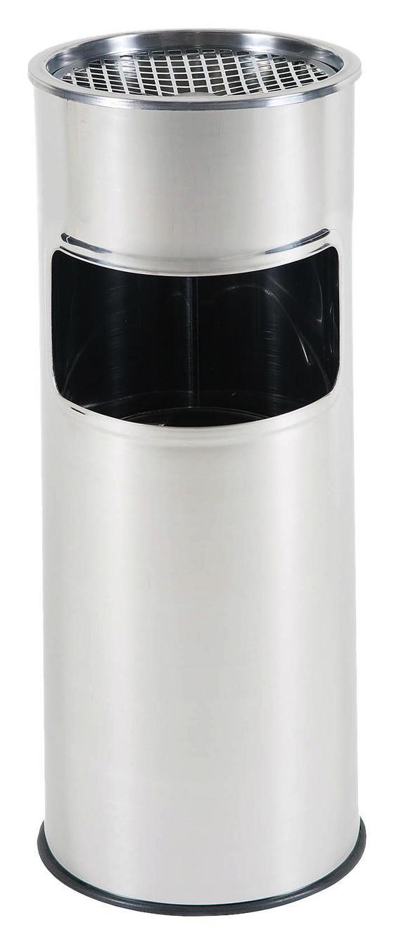Standascher mit Mistkübel - Silberfarben, MODERN, Metall (25/58cm)