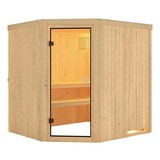 Sauna Toulon mit interner Steuerung am Ofen - Naturfarben, MODERN, Holz (196/198/178cm) - Karibu