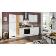Küchenblock Turin 310 cm Alpinweiß/Wildeiche - Blau/Currygelb, LIFESTYLE, Holzwerkstoff (310cm) - Qcina
