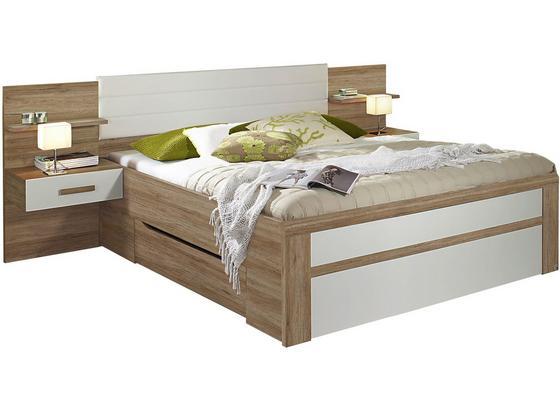 Posteľ Bernau 160 - farby dubu/biela, Moderný, kompozitné drevo/textil (265/96/208cm)