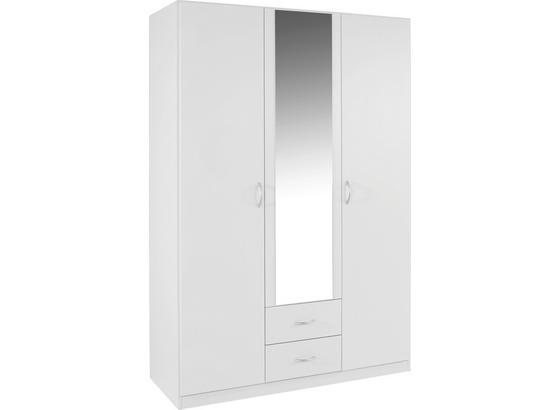 Drehtürenschrank mit Spiegel 136cm Karo, Weiß Dekor - MODERN, Glas/Holzwerkstoff (136/197/54cm)