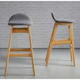 Barová Stolička Enzo - svetlohnedá/sivá, Moderný, drevo/textil (47/88/51cm) - MÖMAX modern living