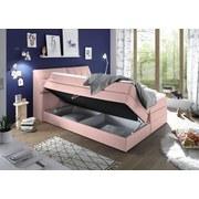 Boxspringbett mit Bettkasten, Kopfteil Aufklappbar 180x200cm - Rosa, KONVENTIONELL, Holzwerkstoff/Textil (180/200cm) - Carryhome