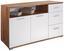 Komoda Roma1, 3 Laden, 2 Tüen - farby dubu/biela, Moderný, kompozitné drevo (138/80/45cm)