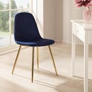 Schalenstuhl Artdeco Blau Gepolstert Beine Gold - Blau/Goldfarben, MODERN, Textil/Metall (45/85/54cm) - Luca Bessoni