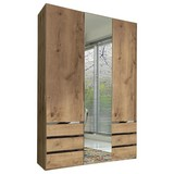 Drehtürenschrank mit Spiegel 150cm Level 36a, Eichen Dekor - Eichefarben, MODERN, Glas/Holzwerkstoff (150/216/58cm)