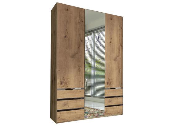 Drehtürenschrank mit Spiegel 150cm Level 36a, Eichendekor - Eichefarben, MODERN, Glas/Holzwerkstoff (150/216/58cm)