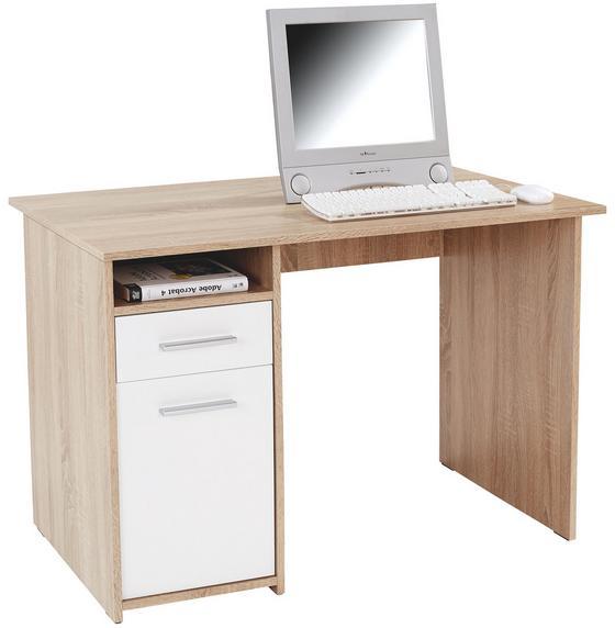 Psací Stůl Palermo - bílá/Sonoma dub, Moderní, dřevěný materiál (110/74/60cm)