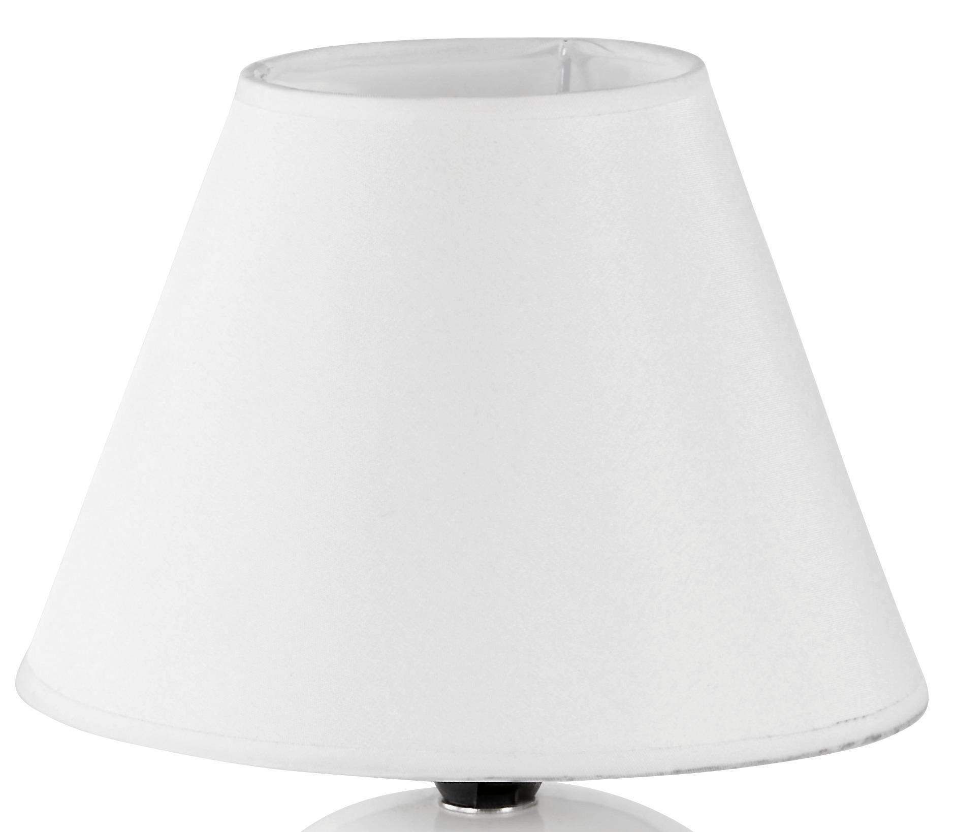 Tischlampe Cindy Cremefarben mit Kugel-Keramikfuß - Detailansicht - Schirm Textil, Weiß