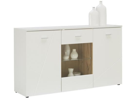 Kommode mit Glaselement + Beleuchtung B 150cm Storm Weiß - Eichefarben/Weiß, MODERN, Glas/Holzwerkstoff (150/88/42cm) - MID.YOU