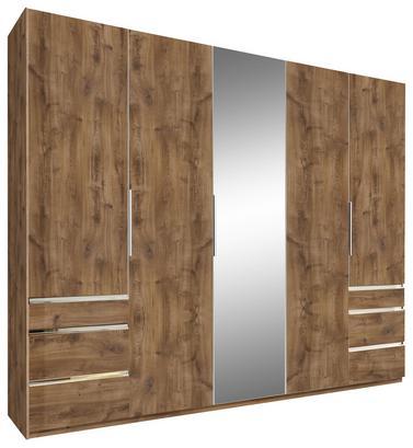 Fünftüriger Schrank in Eiche Dekor mit Schubladen und Spiegel